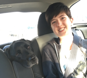 With Jason, on the way to the vet for the last time